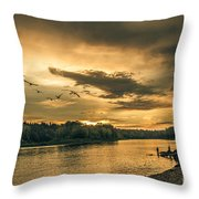 Sunset On The Willamette River Throw Pillow