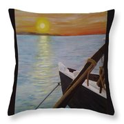Sunset On The York River Throw Pillow