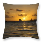 Sunset On Two Masts  Throw Pillow
