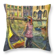 Sunset On Venice - The Gondolier Throw Pillow