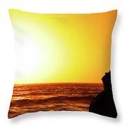 Sunset On Wall Beach Throw Pillow
