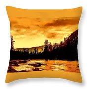 Sunset At  Yellowstone Lake Throw Pillow