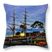 Sunset Over A Tall Ship Throw Pillow