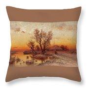 Sunset Over A Ukrainian Hamlet Throw Pillow
