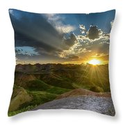 Sunset Over Badlands Np Yellow Mounds Overlook Throw Pillow