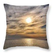 Sunset Over Bay Throw Pillow