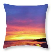 Sunset Over Beach Throw Pillow