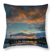 Sunset Over Boat Ramp At Anacortes Marina Throw Pillow