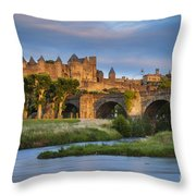 Sunset Over Carcassonne Throw Pillow