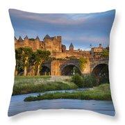 Sunset Over Carcassonne Throw Pillow by Brian Jannsen