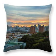 Sunset Over Clarke Quay And Fort Canning Park Throw Pillow