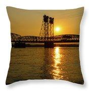 Sunset Over Columbia Crossing I-5 Bridge Throw Pillow