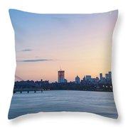 Sunset Over Downtown Manhattan Throw Pillow
