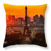 Sunset Over Eiffel Tower Throw Pillow