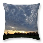 Sunset Over Farm And Trees - Distant View Throw Pillow