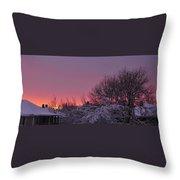 Sunset Over Fresh Snow Throw Pillow