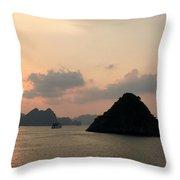 Sunset Over Halong Bay - Vietnam  Throw Pillow