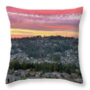 Sunset Over Happy Valley Residential Neighborhood Throw Pillow