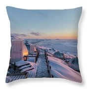 sunset over Igloos - Greenland Throw Pillow