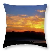 Sunset Over Lake Champlain From Mount Philo Throw Pillow