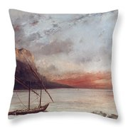 Sunset Over Lake Leman Throw Pillow by Gustave Courbet