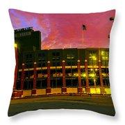 Sunset Over Lambeau Field Throw Pillow