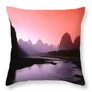 Sunset Over Li River Throw Pillow
