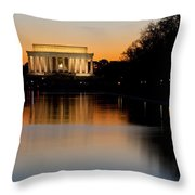 Sunset Over Lincoln Memorial Throw Pillow