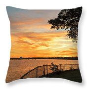 Sunset Over Lynch Park Beverly Ma Water Tower Throw Pillow