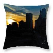 Sunset Over Main Street Throw Pillow