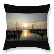 Sunset Over Marina  Throw Pillow