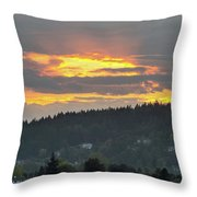Sunset Over Mount Talbert In Happy Valley Throw Pillow