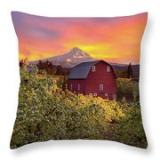 Sunset Over Mt Hood And Red Barn Throw Pillow