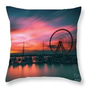 Sunset Over National Harbor Ferris Wheel Throw Pillow