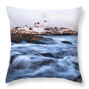 Sunset Over Nubble Light Throw Pillow by Eric Gendron