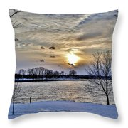 Sunset Over Obear Park In Snow Throw Pillow