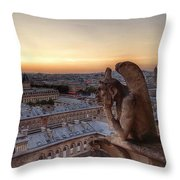 Sunset Over Paris Throw Pillow