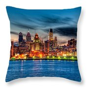 Sunset Over Philadelphia Throw Pillow