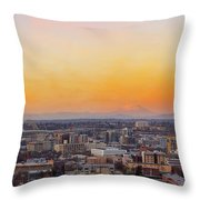 Sunset Over Portland Cityscape And Mt Saint Helens Throw Pillow