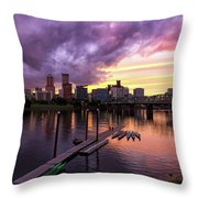 Sunset Over Portland Oregon Downtown Waterfront Throw Pillow