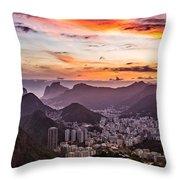 Sunset Over Rio De Janeiro  Throw Pillow