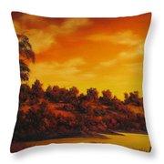 Sunset Over River Throw Pillow