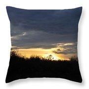 Sunset Over Rural Field Throw Pillow