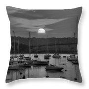 Sunset Over Salem Harbor Salem Beverly Bridge Black And White Throw Pillow