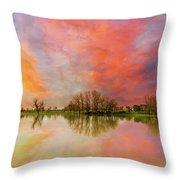 Sunset Over Sauvie Island Throw Pillow