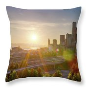 Sunset Over Seattle Downtown Skyline Throw Pillow