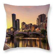 Sunset Over Skyscrapers Of Melbourne Downtown And Princes Bridge Throw Pillow