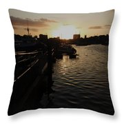 Sunset Over Sutton Harbour Plymouth Throw Pillow