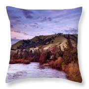 Sunset Over The American River Throw Pillow