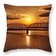 Sunset Over The Bridge Throw Pillow